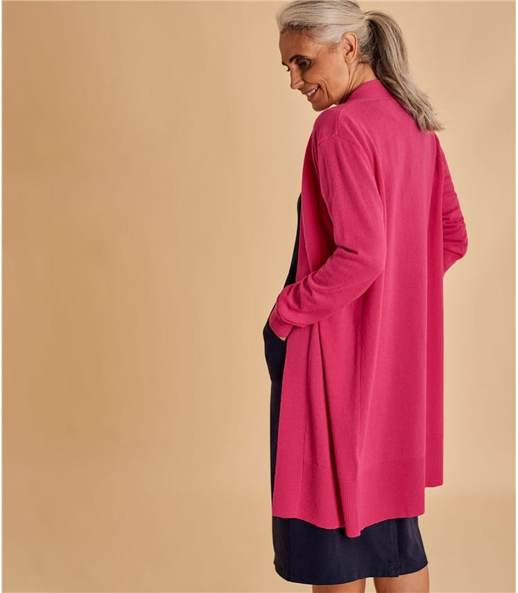 Womens Cashmere and Merino Edge to Edge Long Cardigan