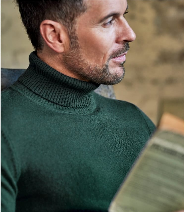 Mens Cashmere and Merino Turtle Neck Sweater