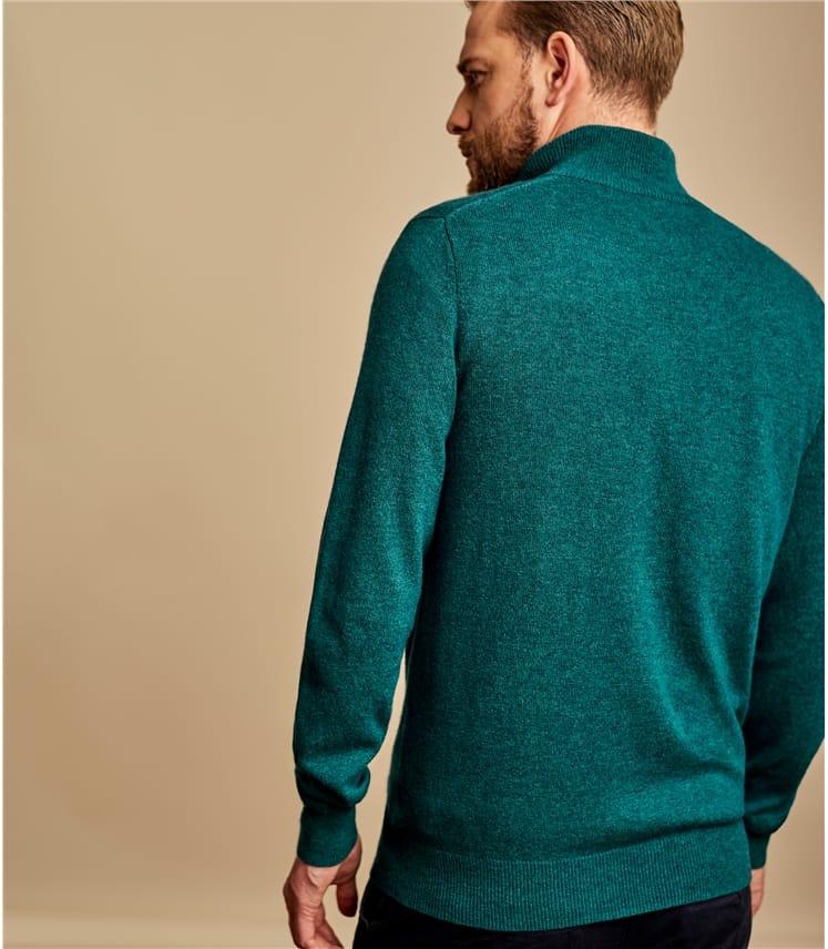 Pullover mit kurzer Reißverschluss aus Merino- und Kaschmirwolle für Herren