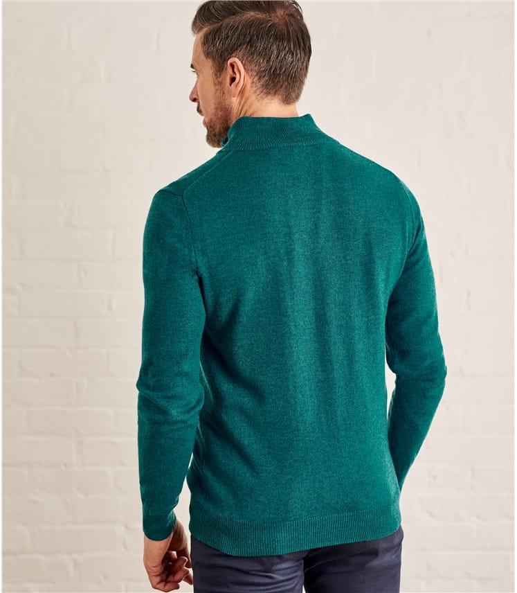 Mens Cashmere and Merino Zip Neck Sweater