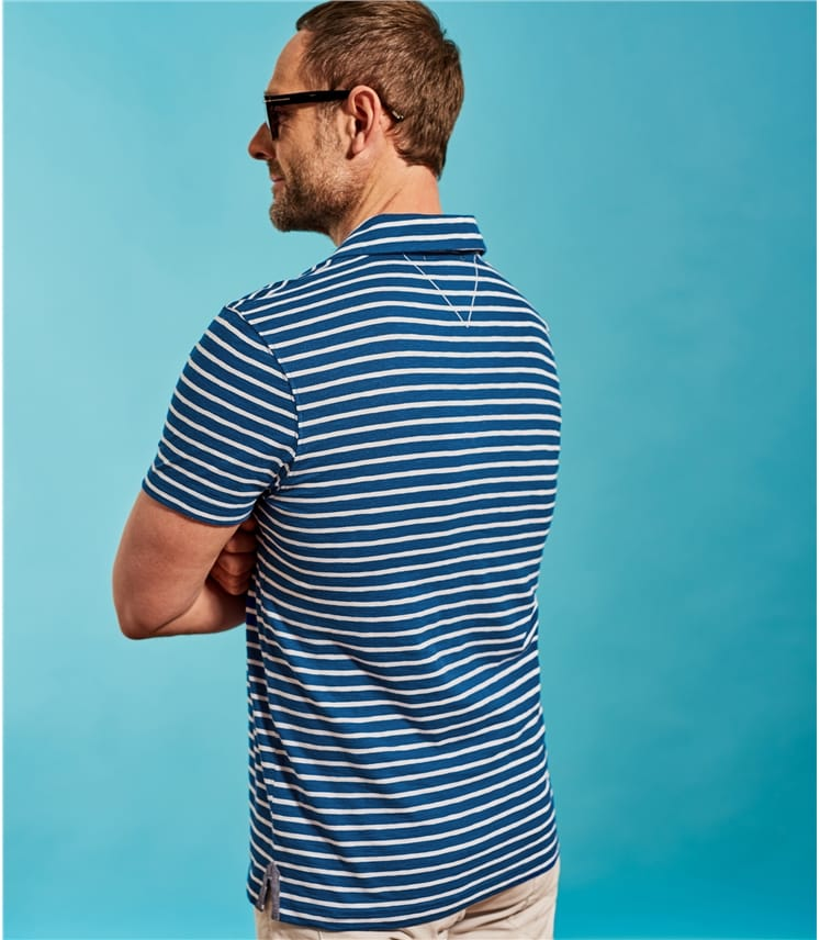 Mens Jersey Stripe Polo Shirt