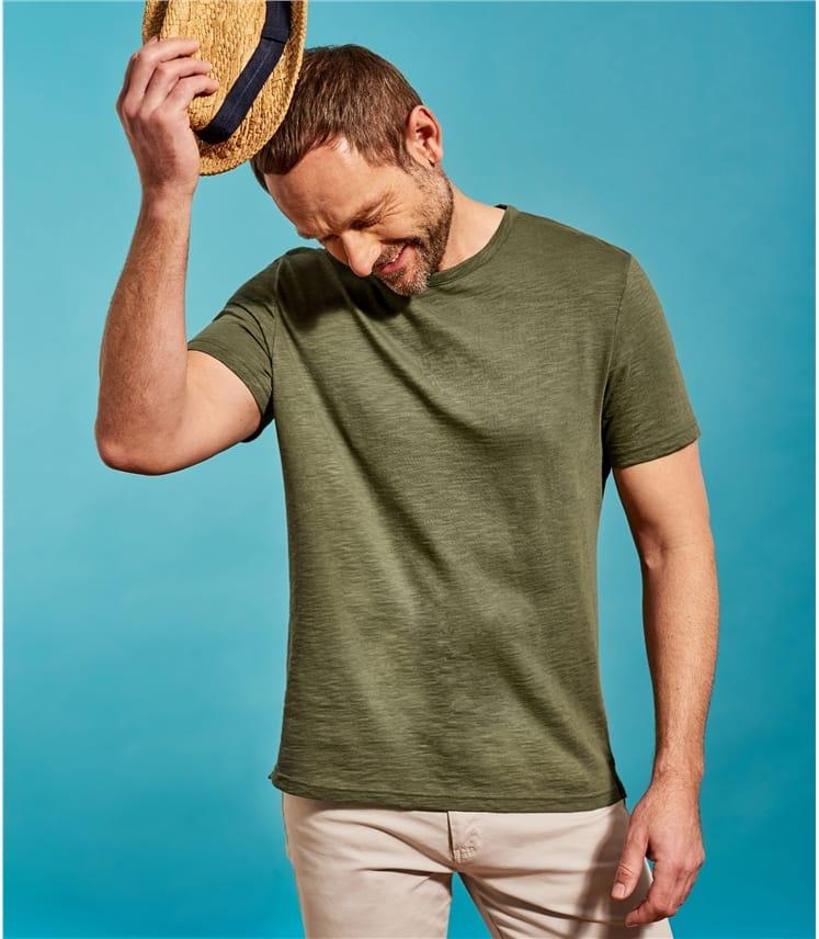 T-shirt décontracté à col rond - Homme - Pur Coton