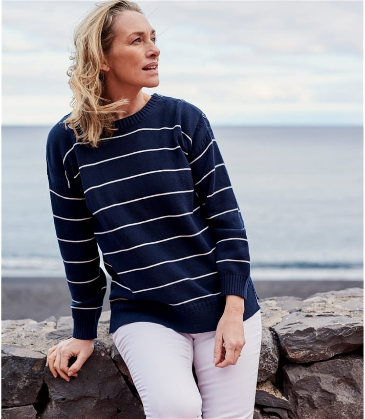 Womens Cotton Stripe Guernsey Jumper