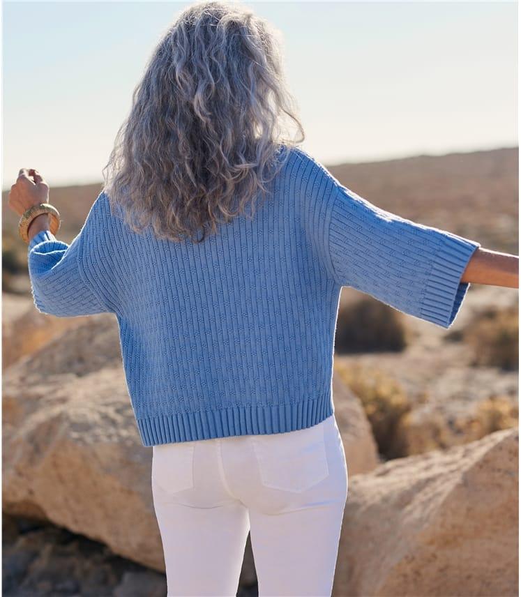 Womens Cotton Kimono Sleeve Jumper