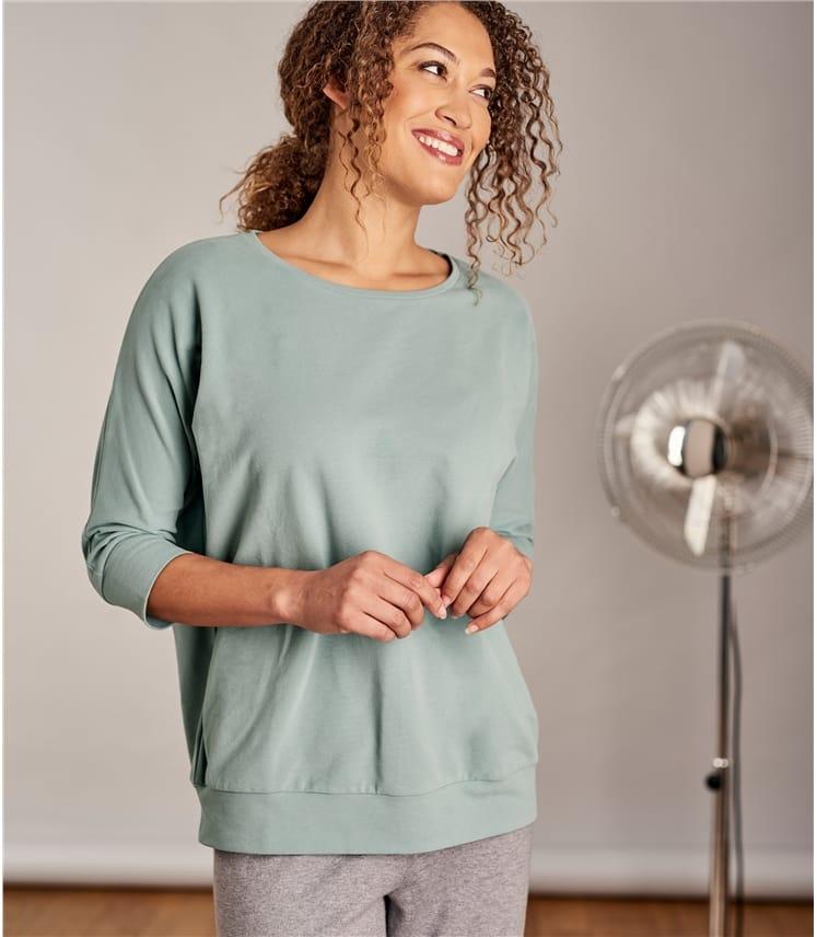 Womens Oversized Super Soft 3/4 Sleeve Sweatshirt