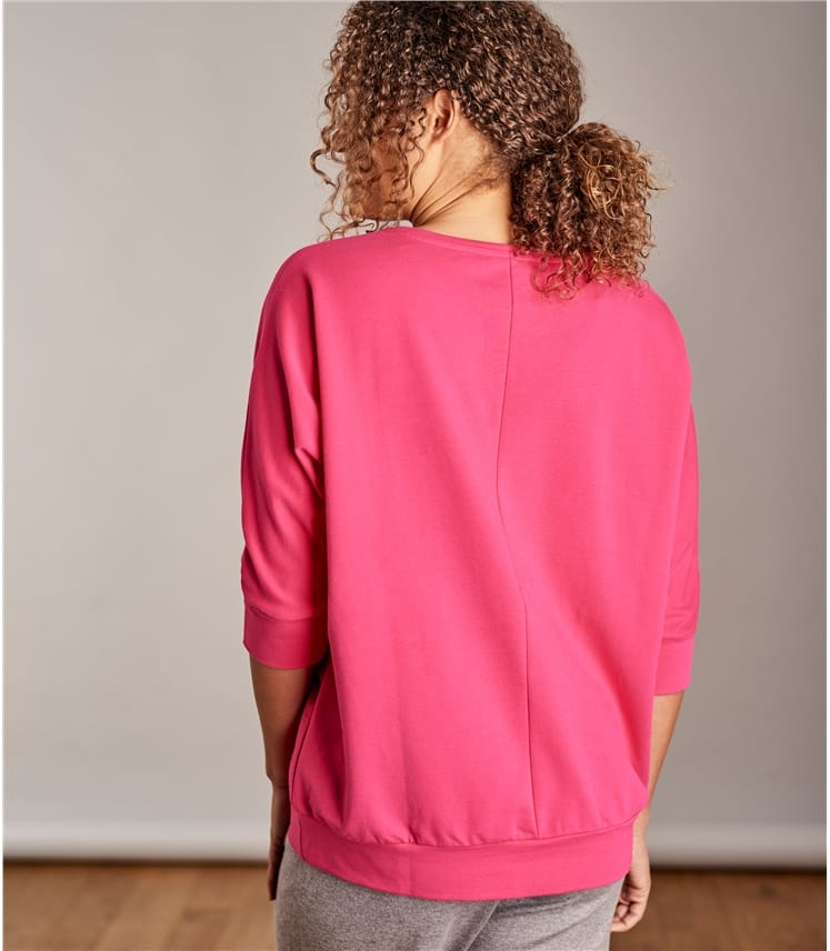 Womens Oversized Super Soft 3/4 Sleeve Sweatshirt