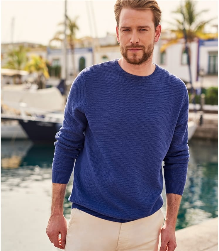 Mens Cotton Textured Crew Neck