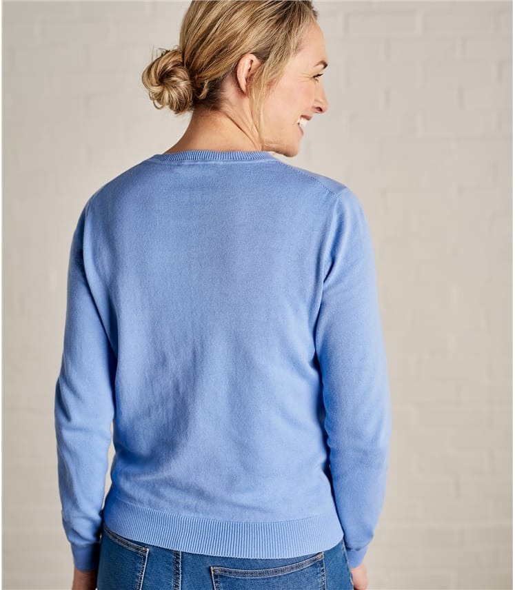 Womens 100% Cotton Crew Neck Sweater