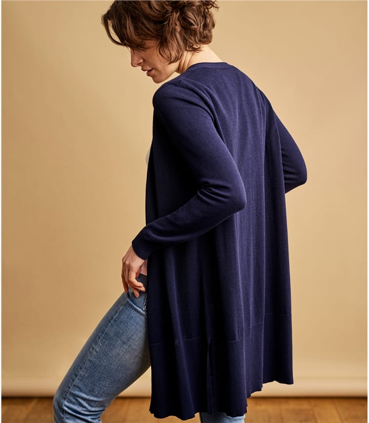 Womens Cotton Blend Long Line Deep Rib Cardigan