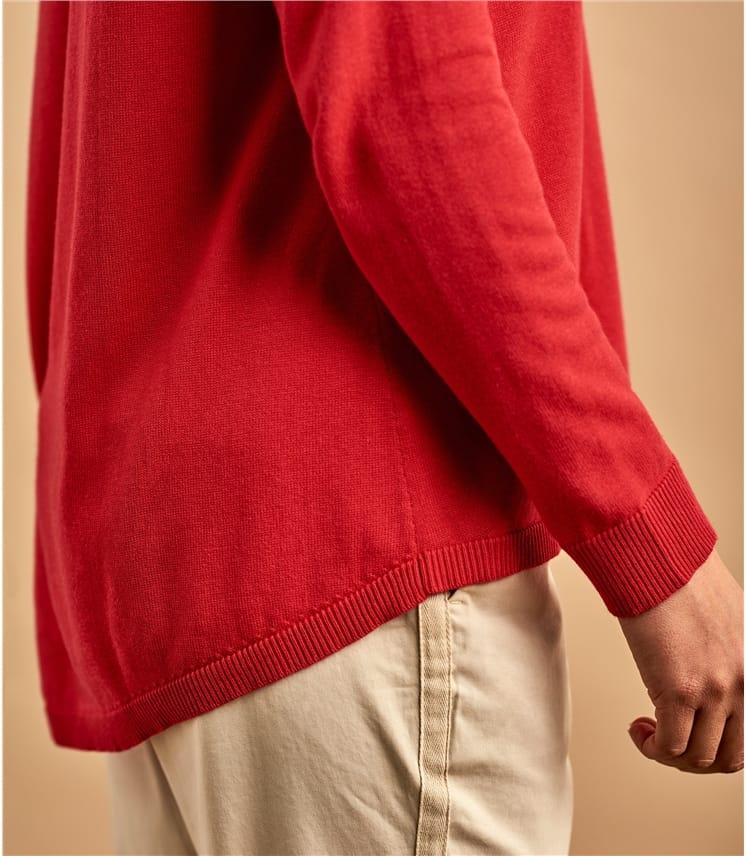 Womens Cotton Blend Curved Hem Sweater