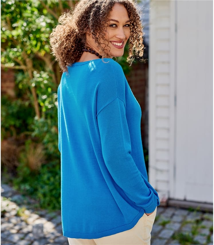 Womens Cotton Blend Curved Hem Sweater