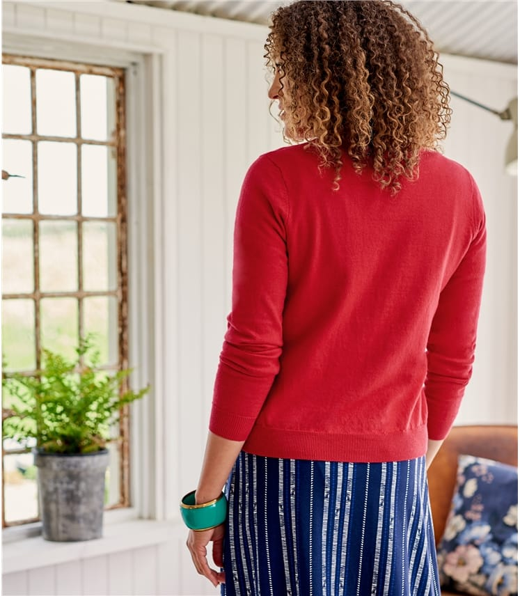 Womens Cotton & Cashmere Blend Frill Placket Cardigan