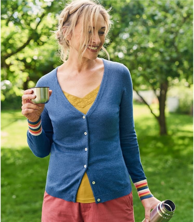 Cardigan poignets à rayures - Femme - Coton mélangé