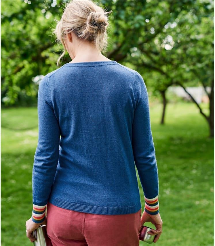 Womens Cotton & Cashmere Blend Striped Cuff Cardigan