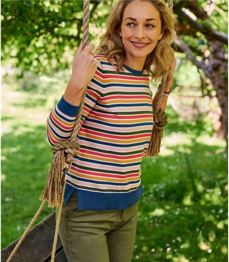 Pull col rond à rayures multicolores - Femme - Coton mélangé