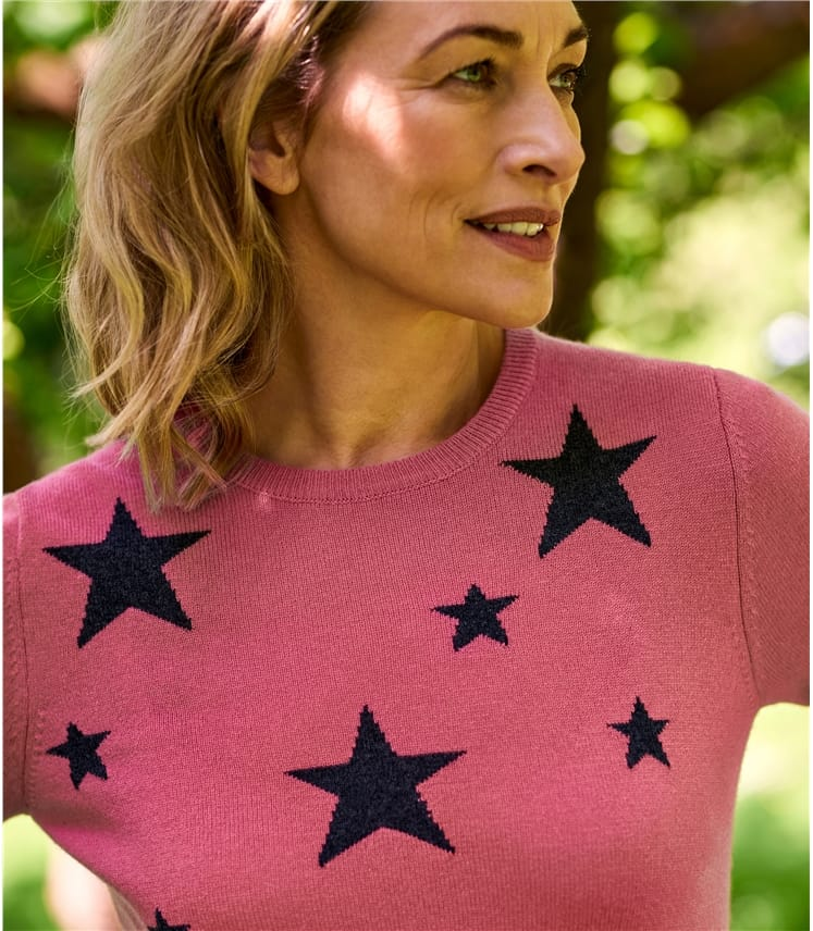 Womens Star Crew Neck Jumper