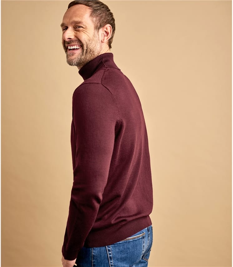 Mens 100% Merino Polo Neck Jumper