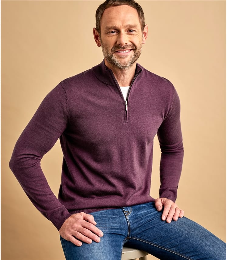 Mens 100% Merino Half Zip Neck Sweater