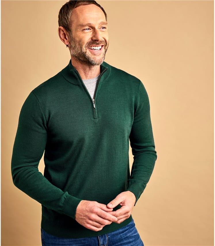 Pullover mit kurzem Reißverschluss aus Merinowolle für Herren