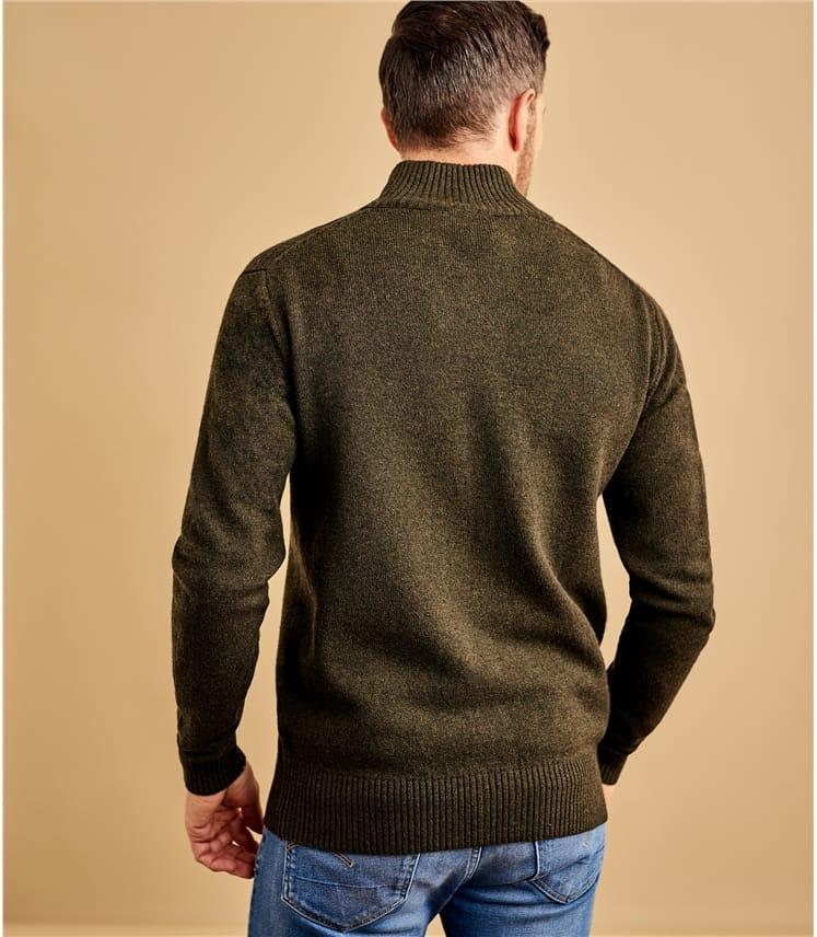 Мужская шерстяная кофта на молнии из натуральной шерсти ягненка