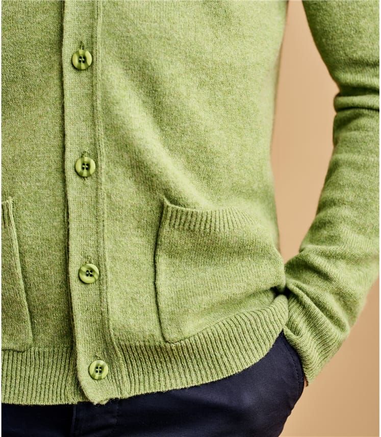 Lambswool V Neck Knitted Cardigan