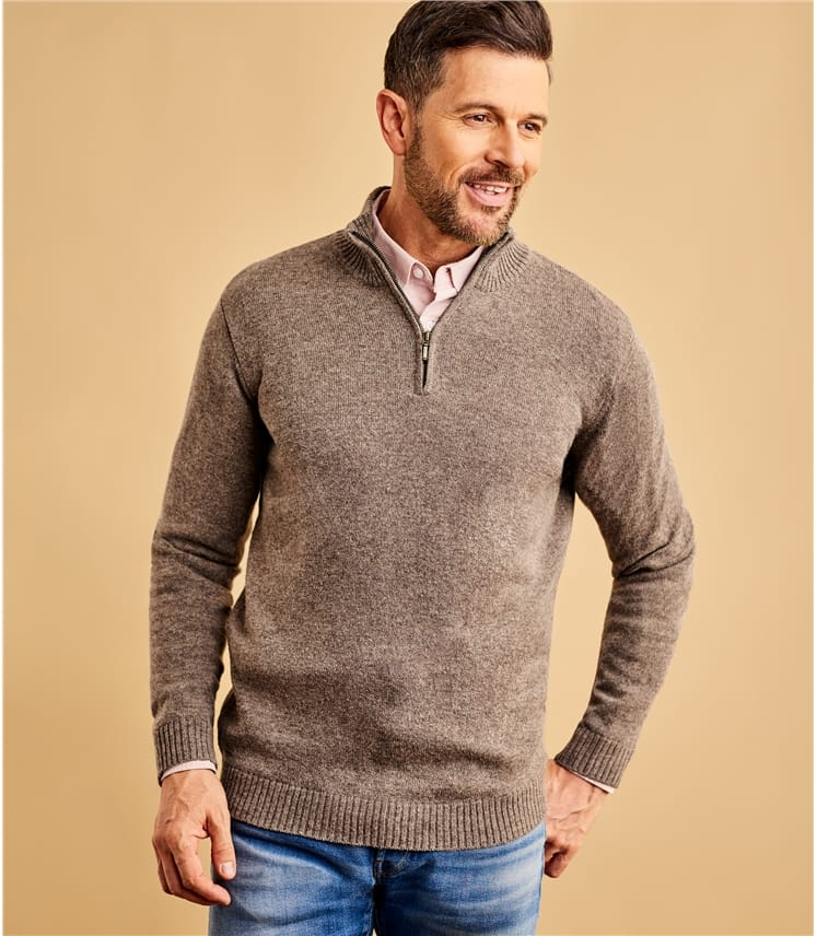 Pure Lambswool Zip Neck Sweater