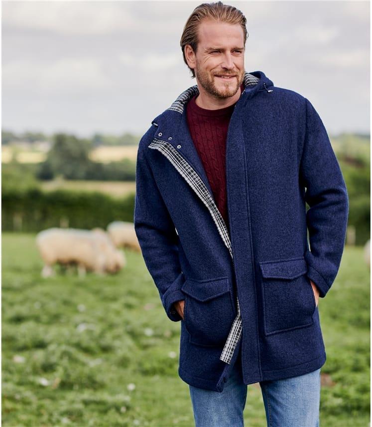 Manteau regular en laine à capuche Navy Outlet