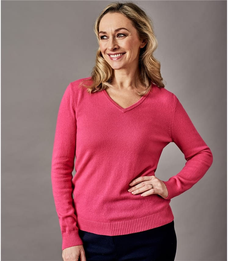 63b870378ee5f Pink Rose Pure Cashmere | Womens Pure Cashmere V Neck Sweater