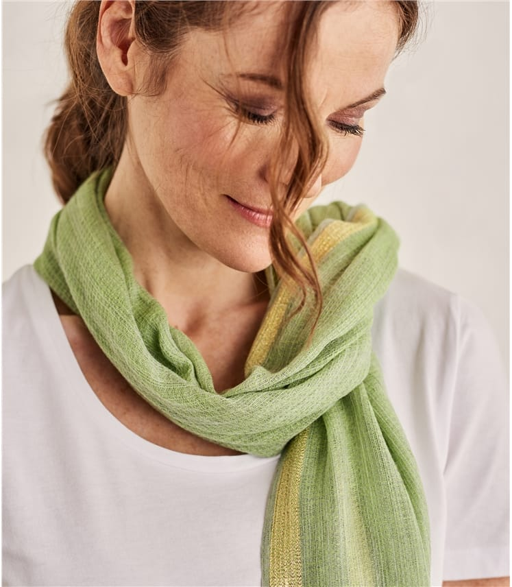 Womens Lurex Edge Scarf