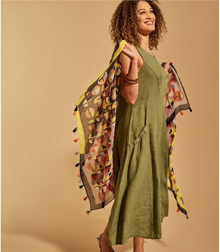 Foulard à pompons et imprimé pois - Femme - Pure laine