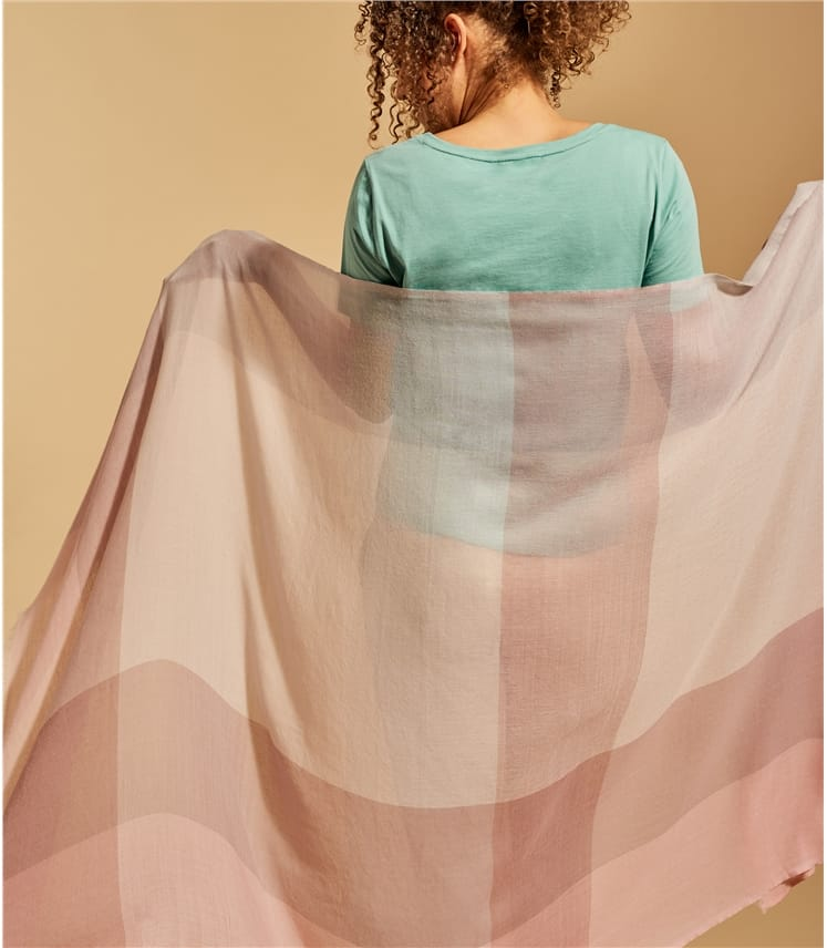 Womens Wool Blend Pastel Check Scarf 85cm X 180cm