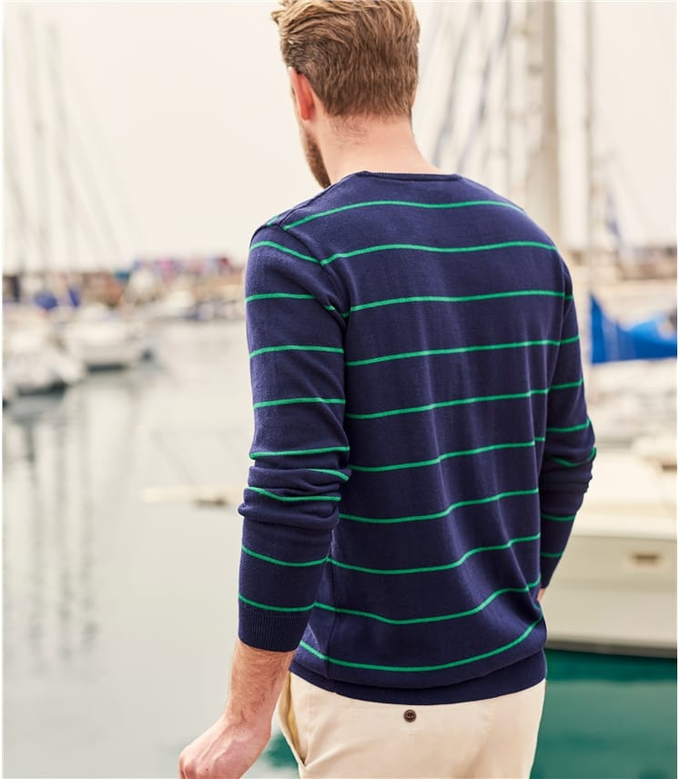 Mens 100% Cotton Wide Stripe Jumper
