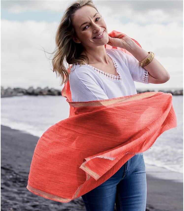 Womens Lace Trim Vee Neck Linen Top