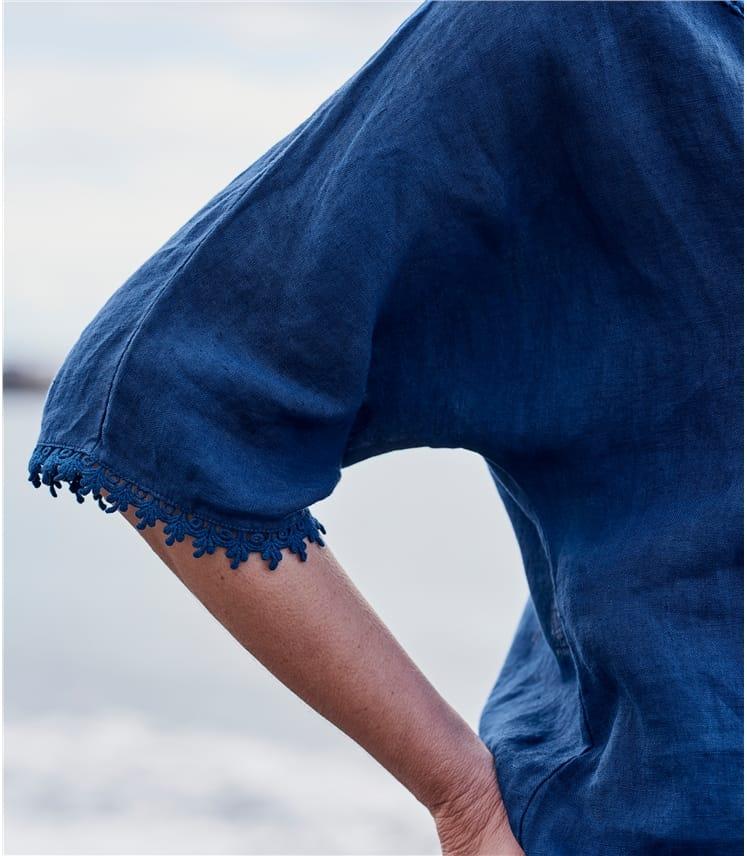 Top mit 3/4 Ärmel und detailiertem Häkelstick am Ausschnitt aus Leinen für Damen