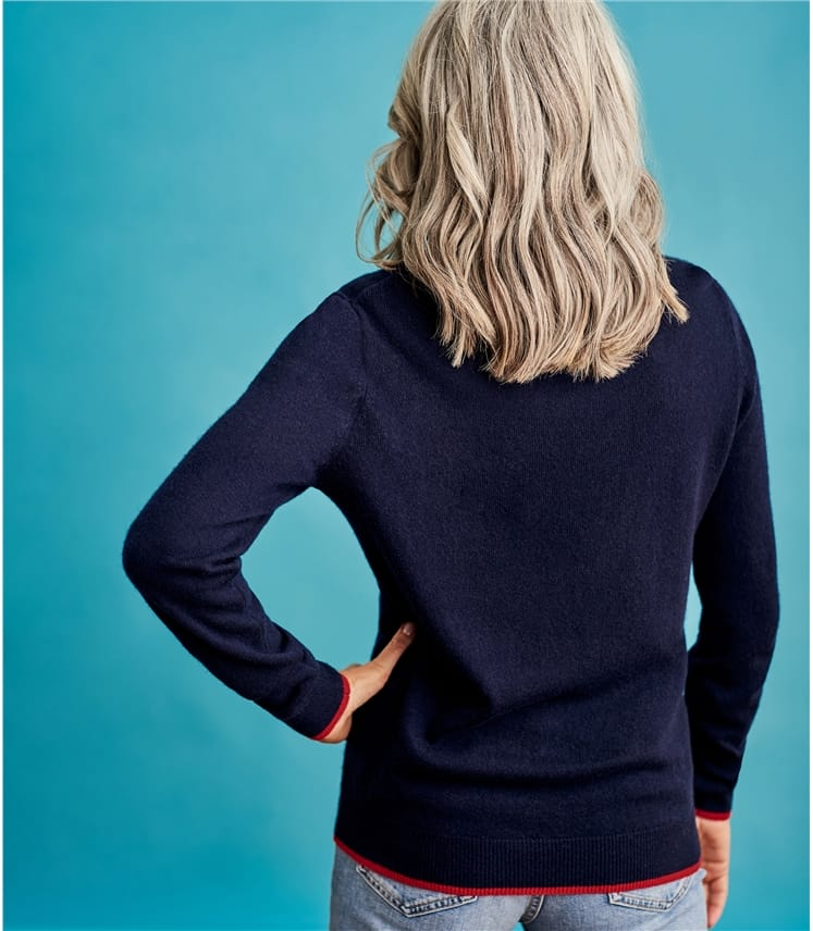 Womens Cashmere Merino Spot Sweater