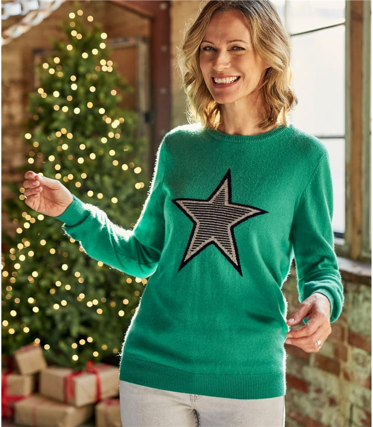 Womens Cashmere Merino Star Jumper