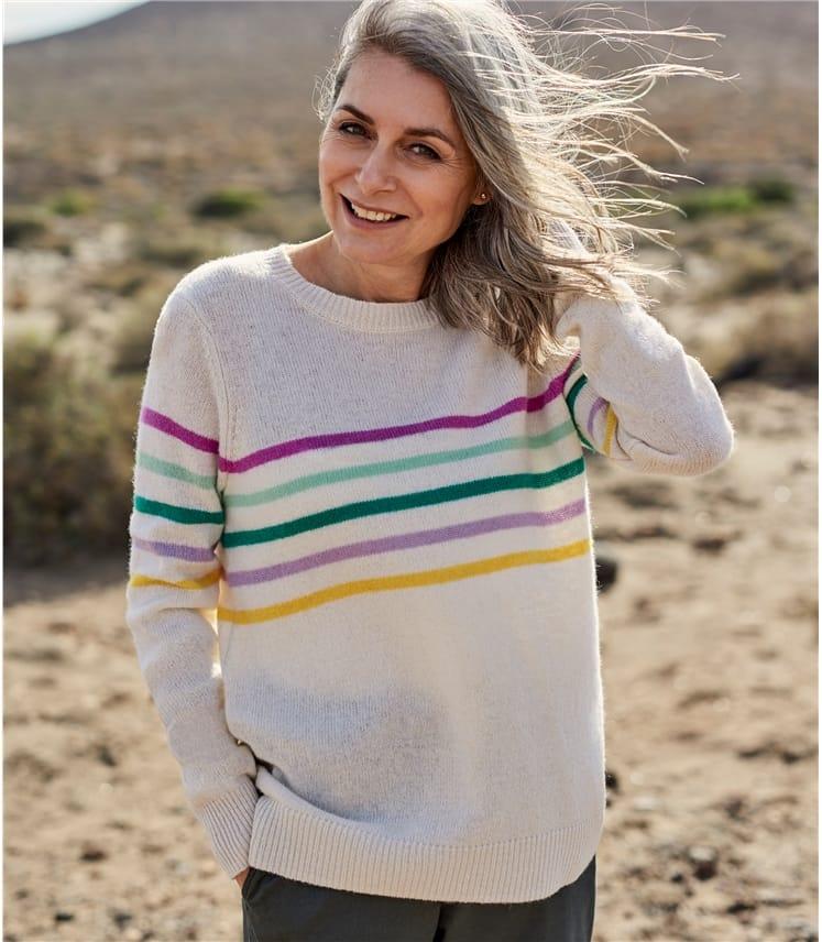 Womens Pure Merino Stripe Sweater