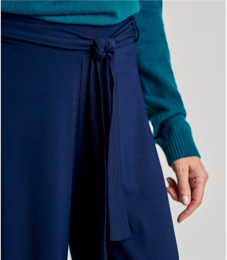 Womens Jersey Wide Leg Trousers