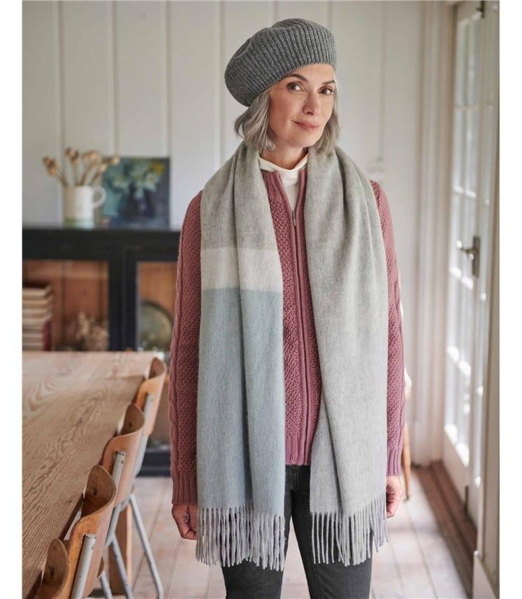 Wide Colourblock Pure Wool Scarf