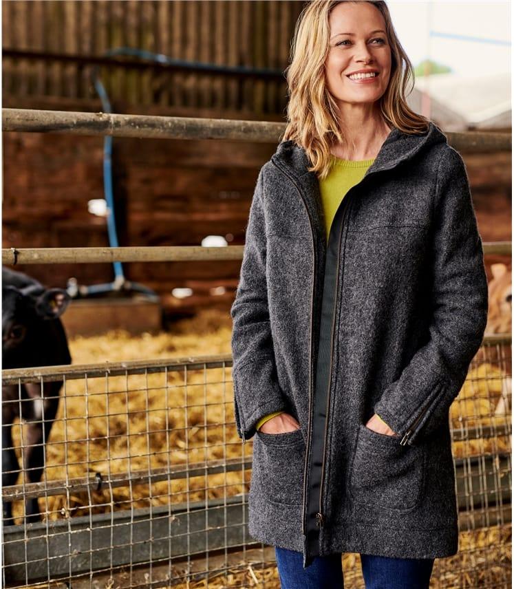 Hooded Boiled Wool Coat