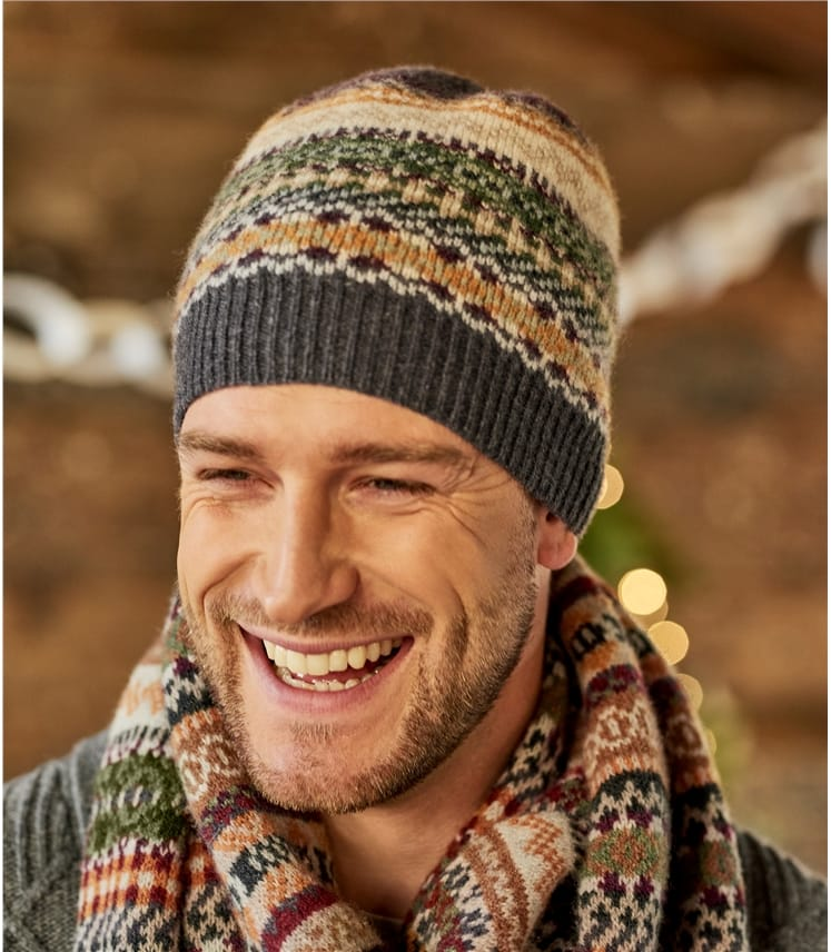 Mens Lambswool Fairisle Hat