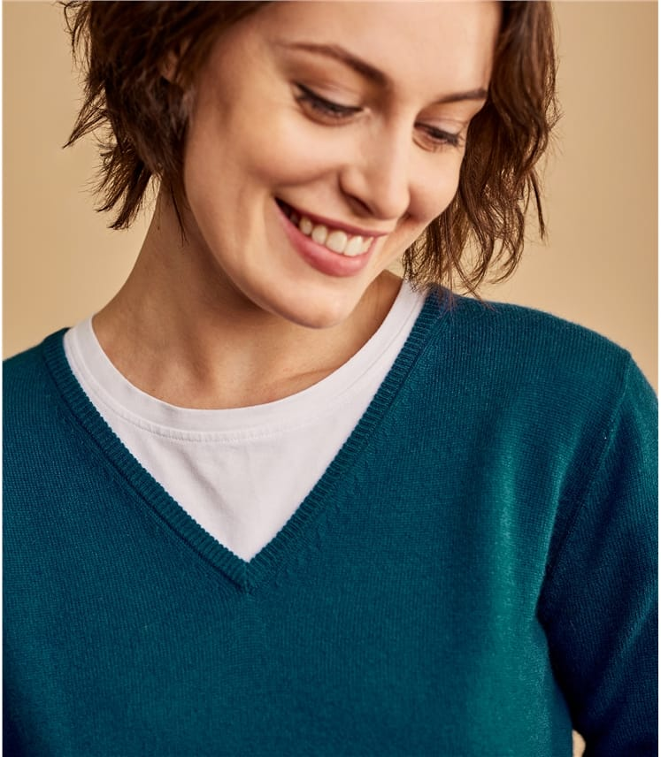 Cashmere and Merino V Neck Knitted Sweater