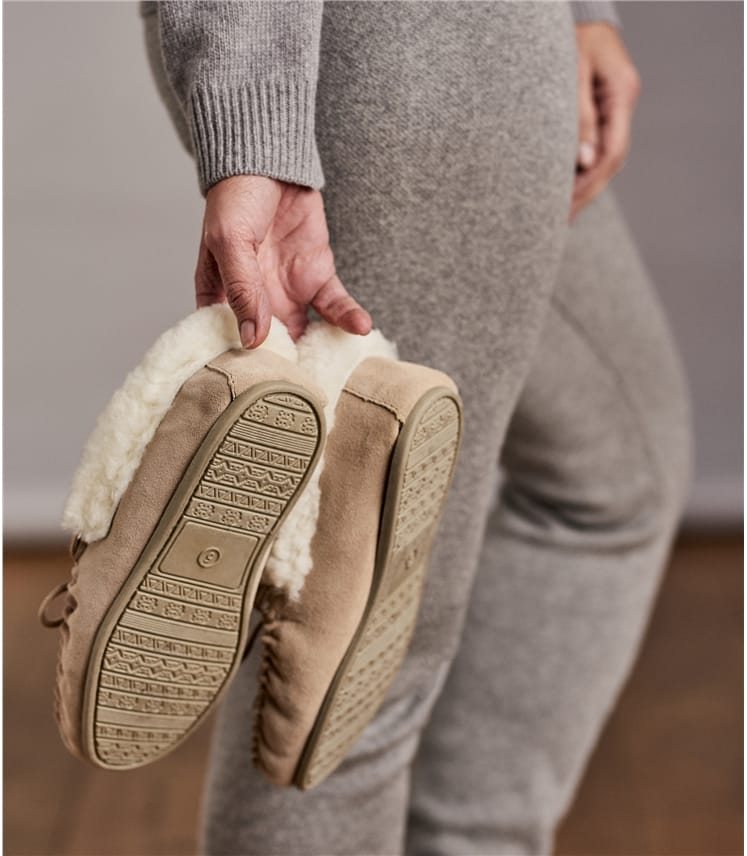 Womens Sheepskin Hard Sole Moccasin Slipper