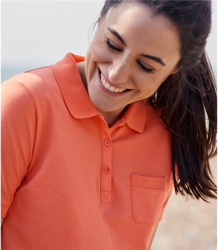 Womens Cotton Pique Polo Shirt
