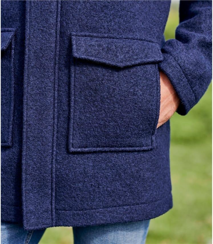 Mens Boiled Wool Hooded Coat