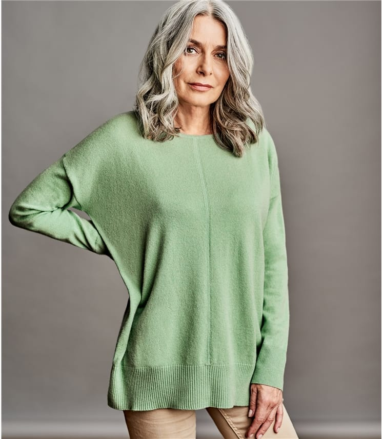 Womens Luxurious Pure Cashmere Boat Neck Jumper