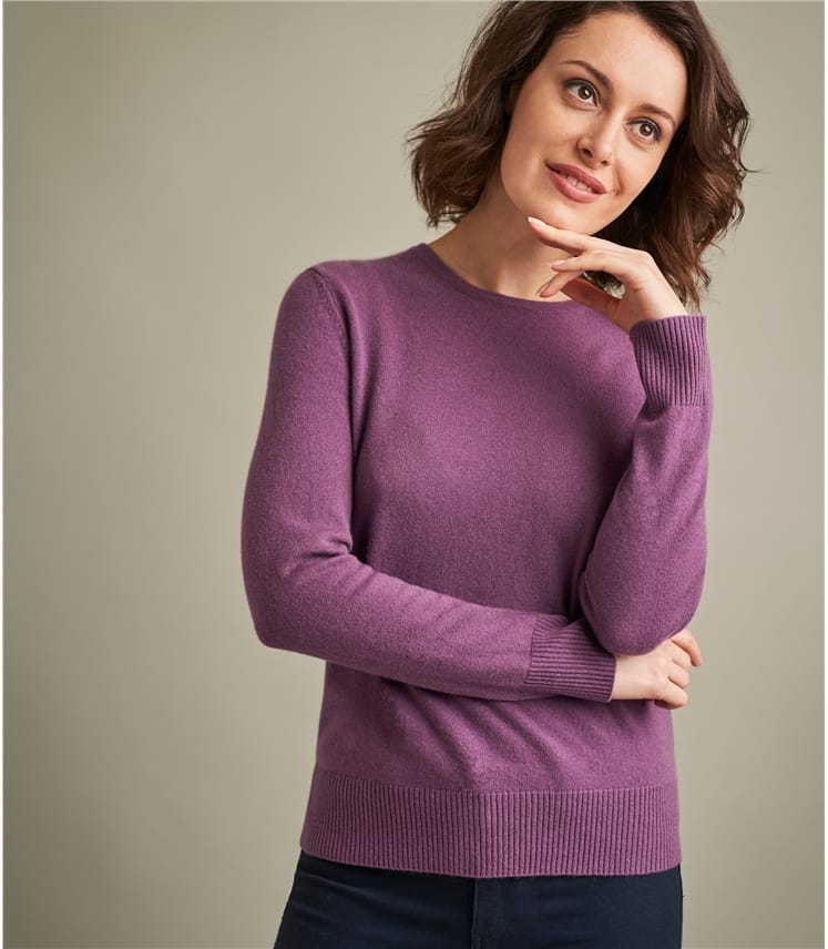 Womens Luxurious Pure Cashmere Crew Neck Jumper