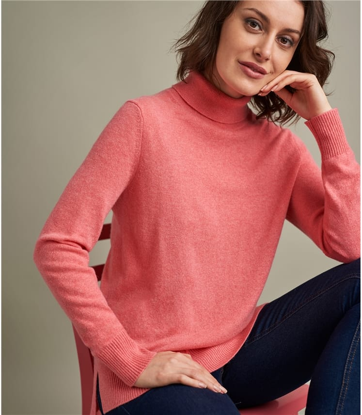 Womens Luxurious Pure Cashmere Boxy Polo Neck Jumper