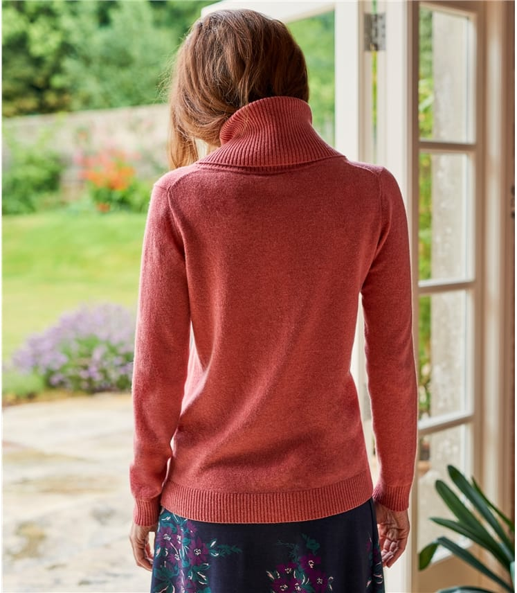Womens Cashmere Merino Long Sleeve Cowl Neck Jumper