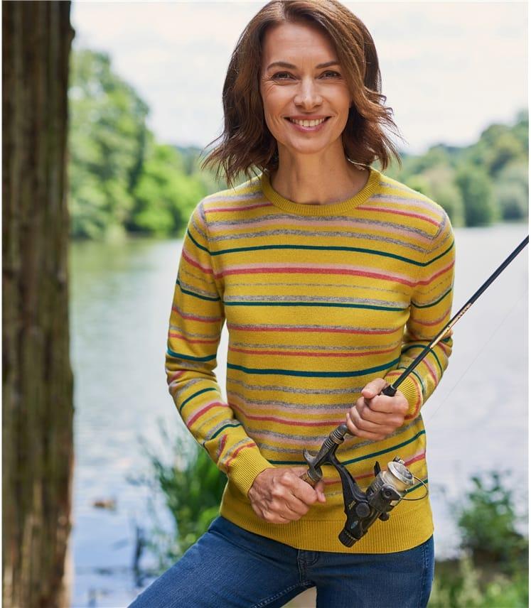 Womens Cashmere Merino Stripe Jumper